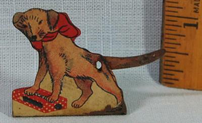 Early Cracker Jack Tin Stand Up Checkerstown Wags Pup Toy