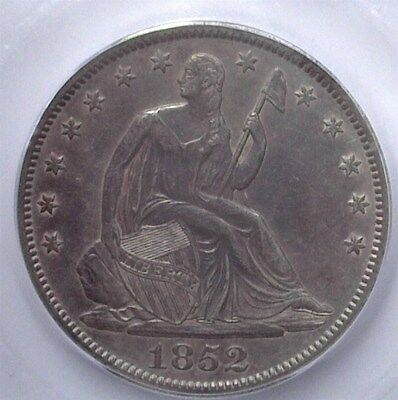 1852 Seated Liberty Silver 50 Cents  Icg Au55  Rare This Nice!