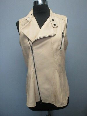 SAKS FIFTH AVENUE Tan Zip Front Solid Leather Sleeveless Vest Sz S DD2694