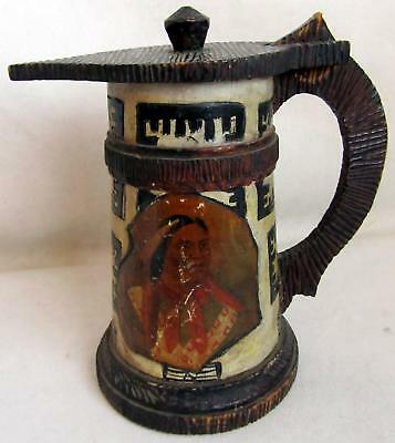 Vintage 1940s Indian Chief Hand-Carved Wooden Tankard Stein Hand-Painted Image