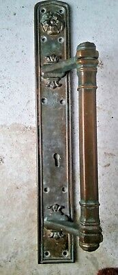 1 Large Antique Brass Door Handle Pull Architectural Salvage Vintage with Roses