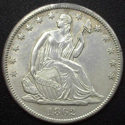 1862-S Seated Liberty Silver 50 Cents  Uncirculated
