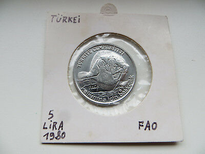 FAO F.A.O. Münze Coin 5 Lira 1980 Turkei Turkey Fisheries unc