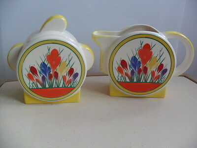 Clarice Cliff Crocus Design By Moorland Pottery Lidded Sugar Bowl And Milk Jug