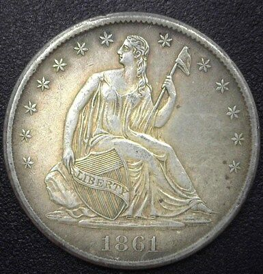 1861-S Seated Liberty Silver 50 Cents  Nearly Uncirculated