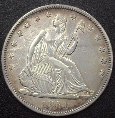 1864 Seated Liberty Silver 50 Cents  Choice Almost Uncirculated+