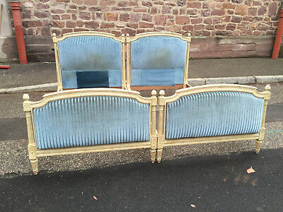 ANTIQUE FRENCH Louis XVI Upholstered BED pair
