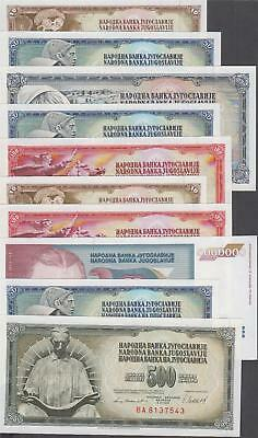 10 Banknotes from Yugoslavia all AU or Better