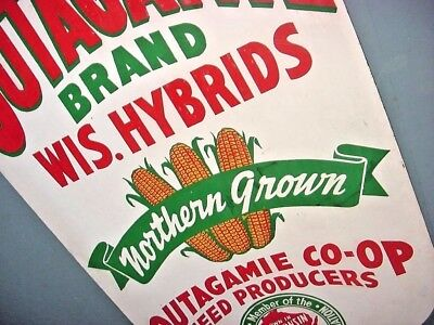 GRAPHIC ~ 1940s Vintage OUTAGAMIE WISCONSIN SEED CORN Old Corn Kernel Shape Sign
