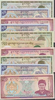 10 Banknotes from Bhutan all AU or Better