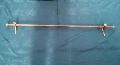 Genuine Old Vintage Brass Curtain Rail Complete With Brackets