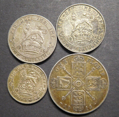 Great Britain, Early Silver Coins Lot, Shillings, Six Pence & Florin