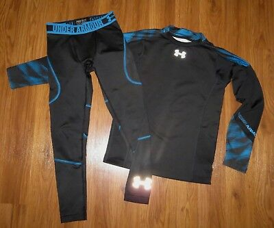 Lot 2 Boy UNDER ARMOUR ColdGear Fitted Multiplier Mock Infrared Leggings YSM YMD