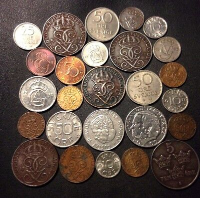 Vintage Sweden Coin Lot - 1915-PRESENT - 26 Great Coins - Lot #N15