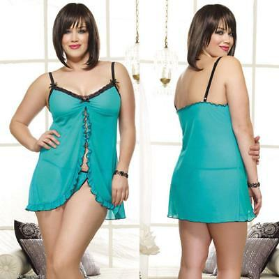 Sexy Plus Size Lingerie One Size Queen Turquoise Babydoll DG8097X