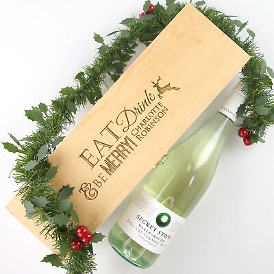Christmas Engraved Wooden Wine and Champagne Box - Natural, Gift, Present