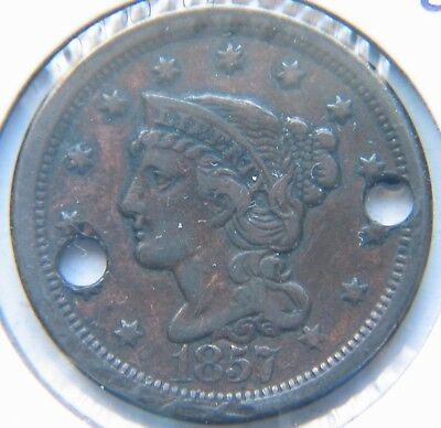 1857 1C Large Date BN Braided Hair Large Cent  (holed)