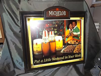 Rare 1980's Vintage Lighted Michelob Beer Black Americana Advertising Sign