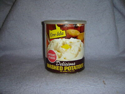 Vintage Ore-Ida Mashed Potato Potatoes empty Can 40 Oz Instant Flakes with lid