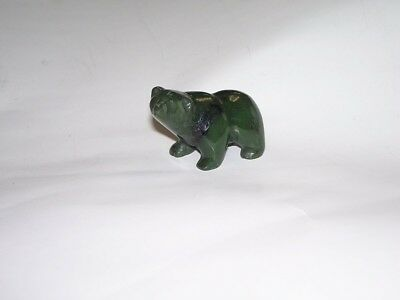 Vintage Inuit Carved Green Jade Polar Bear Figurines Sculptures  48.6 Grams NR