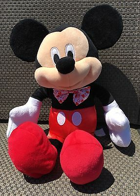 """Mickey Mouse Plush 17"""" Red White Heart Bow Tie Disney on Ice Stuffed Toy"""