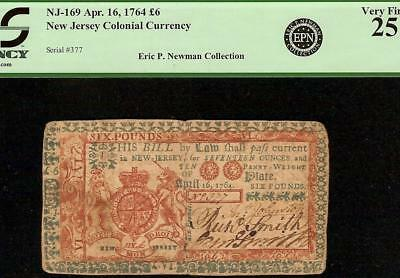 Rare Apr 16, 1764 New Jersey Red Blue Colonial Currency Note Only 917 Issue Pcgs