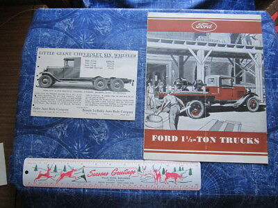 Mixed Lot 2 Automobile Advertising Pieces Ford Chevy Chevrolet Trucks  hj3520