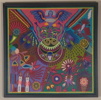 "Vintage Mexican Huichol framed yarn painting 24 3/4"" x 24 3/4"""