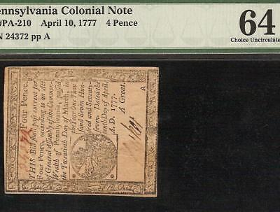 Unc April 10, 1777 Pennsylvania Colonial Currency Note Paper Money Graded Pmg 64