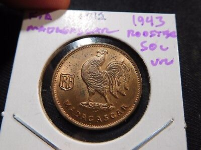 INV #M12 French Africa Madagascar 1943 Rooster 50 Centimes UNC
