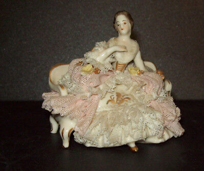 Dresden Lace Lady Miniature Porcelain on Sofa Germany
