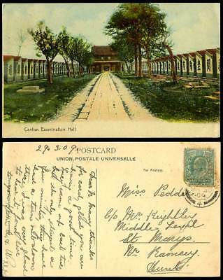 China 1/2d 1909 Old Colour Postcard Canton, Chinese Examination Hall, Built 1684