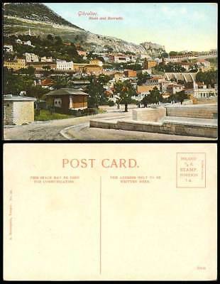 Gibraltar Old Colour Postcard Rosia and Military Barracks Street Scene Rock Mts.