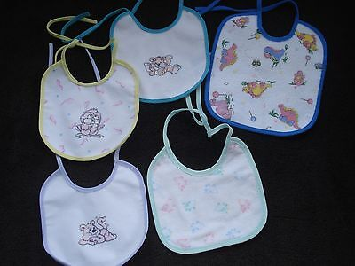 Lot of Five Vintage Infant Bibs New
