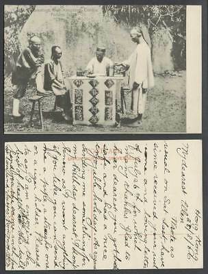 Hong Kong Greetings from 1906 Old Postcard Chinese Fortune Teller Chinaman China
