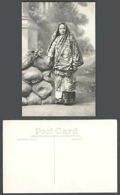 Malay Girl Old Real Photo Postcard Native Woman Lady, Muslim Headscarf Costumes
