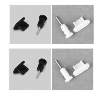 Black+White 10set Silicone Anti Dust Cap Earphone Plug Stopper For iPhone 5/6/6s