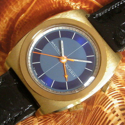 Mens NOS Racine GALLET & CO. Vintage ALARM Swiss Made Enicar 17j Watch & Band A+