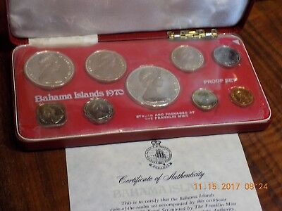 1970 Bahamas 9-Coin Proof Set in Original Display Case w/ COA - With Silver!