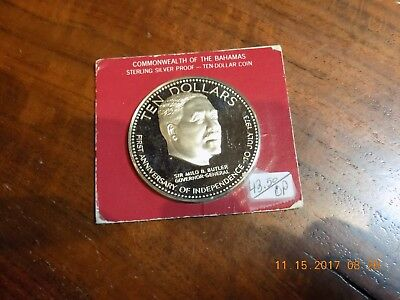 1974 Bahamas Silver Proof 10 Dollars - Gem Cameo Sealed on Orig. Display Card