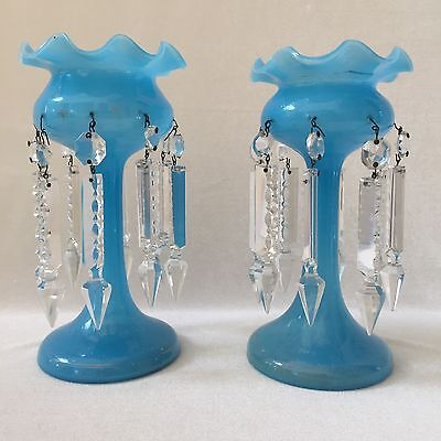 Antique Pair Of Blue Mantel Lusters Handblown Opaline Glass Lamps