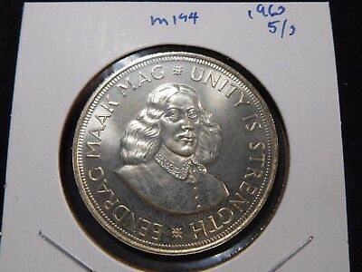 INV #M194 South Africa 1963 Silver 5 Shilling Crown