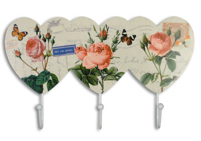 """Pink Rose Wall Key Holder with Butterflies Flowers 3 White Metal Hooks 11.5 """""""