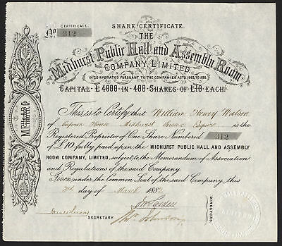 Midhurst Public Hall and Assembly Room Co. Ltd., £10 share, 1882