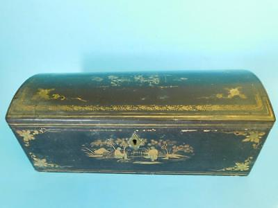 Antique Chinese Japanese lacquer Chest shaped Jewelry Trinket Box Meiji 1900s