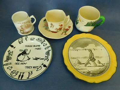 6 Mixed Pieces Antique Royal Doulton Childrens Nursery Rhyme China