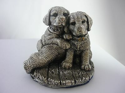 Stunning Pair Of Sterling Silver Labrador Puppies By Country Artists