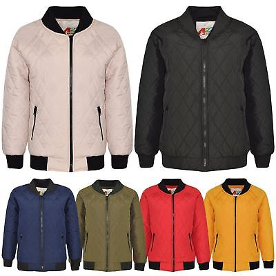 Kids Jacket Girls Bomber Padded Quilted Zip Up Biker Jackets Coats 5-13 Years