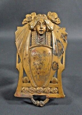 1905 Art Nouveau Brass Ornament Book Decor Applique Plaque Woman Face Flowers