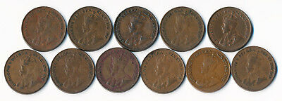 11 Key Date Canada Small Cents 1923(6) + 1925(5) See Hi-Res Scans > No Reserve